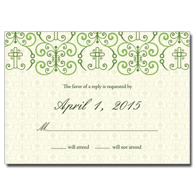 Adorned Cross Jeweled First Communion Response Card