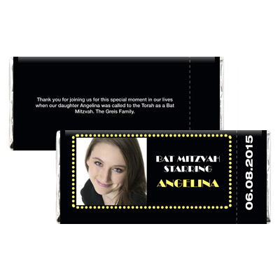 Broadway Ticket Bar Mitzvah Candy Wrapper