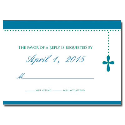 Bubble Cross Blue Jeweled First Communion Response Card