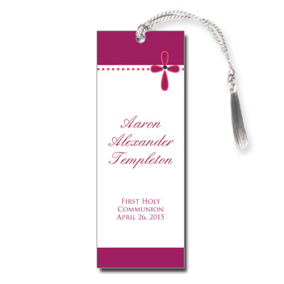 Bubble Cross Pink Jeweled First Communion Bookmark
