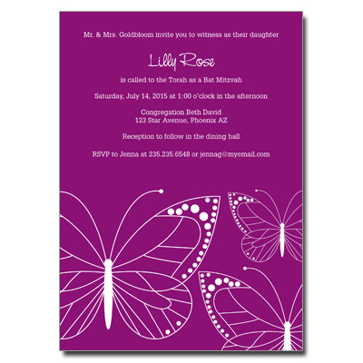 Fuchsia Butterfly Bat Mitzvah Invitation