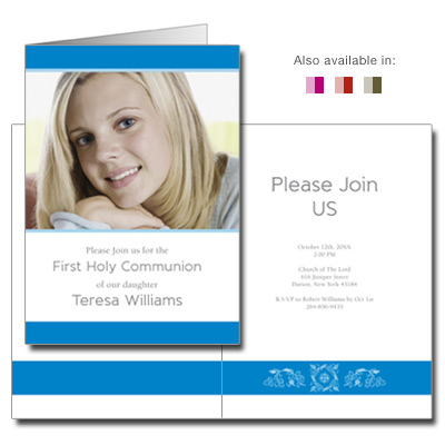 Folded Chalice First Communion Invitation