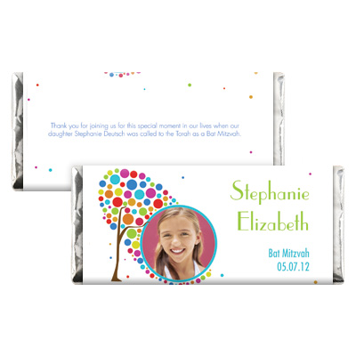 Colorful Tree Bar Mitzvah Candy Wrapper