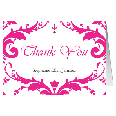 Damask Bat Mitzvah Thank You Card