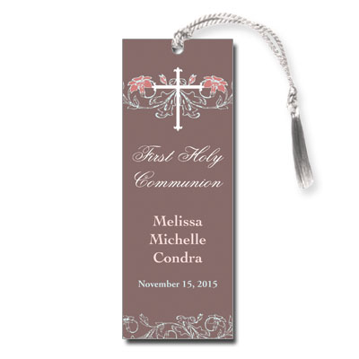 Dusty Rose Jeweled First Communion Bookmark