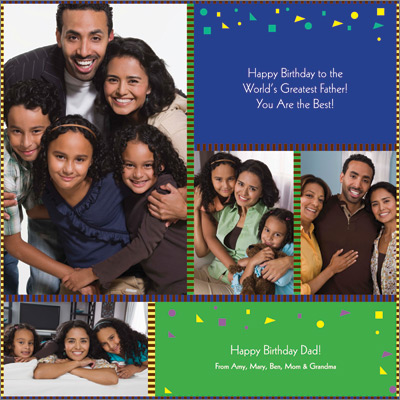 Family Collage Blue Gift Wrap