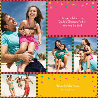 Family Collage Pink Gift Wrap