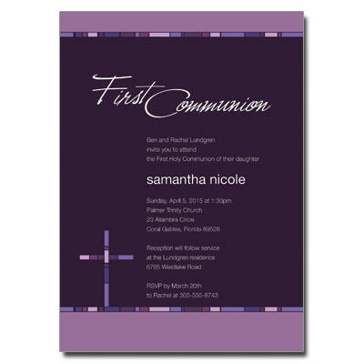 Geometric Purple Cross First Communion Invitation