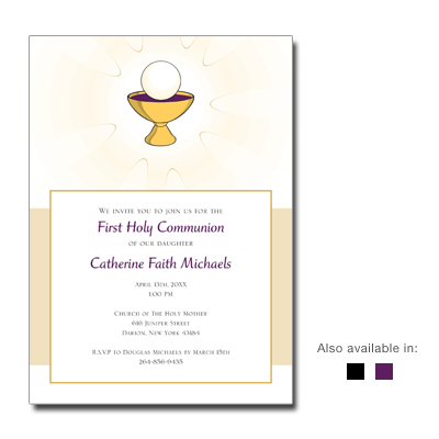 Golden Chalice First Communion Invitation
