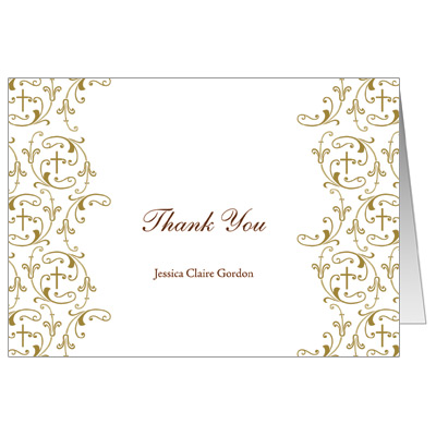 Golden Vines First Communion Thank You Card