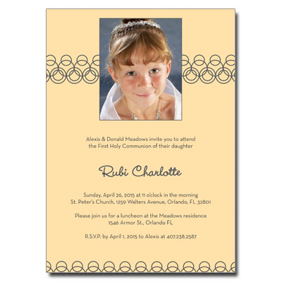 Golden Hoops First Communion Invitation