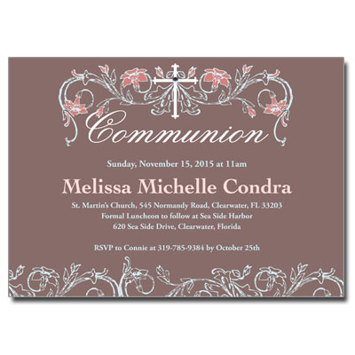 Dusty Rose Jeweled First Communion Invitation