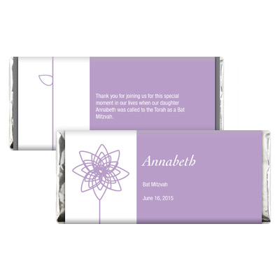 Lavender Blooms Bat Mitzvah Candy Wrapper