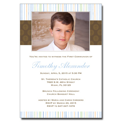 Mod Religious Blue Stripes First Communion Invitation