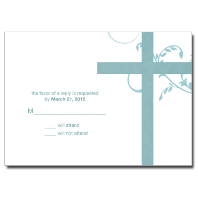 Modern Teal Swirl First Communion Response Card