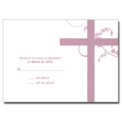 Modern Mauve Swirl First Communion Response Card