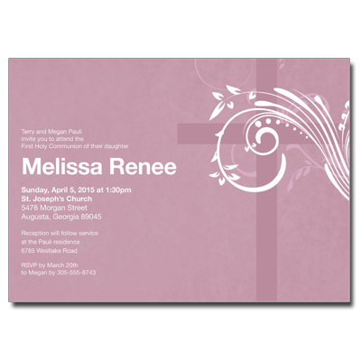 Modern Mauve Swirl First Communion Invitation