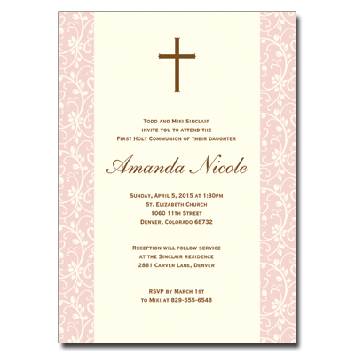 Pink Vines First Communion Invitation