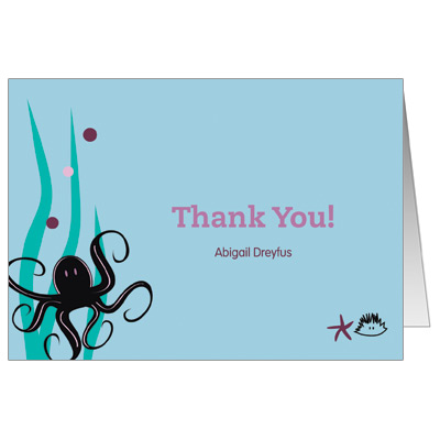 Under the Sea Purple Bat Mitzvah Thank You Card