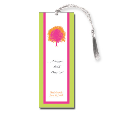 Painted Tree Lime Bat Mitzvah Bookmark