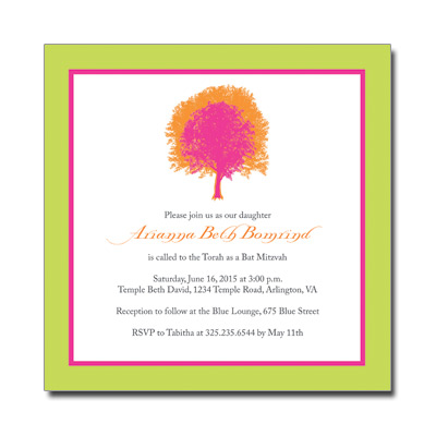 Painted Tree Lime Bat Mitzvah Invitation