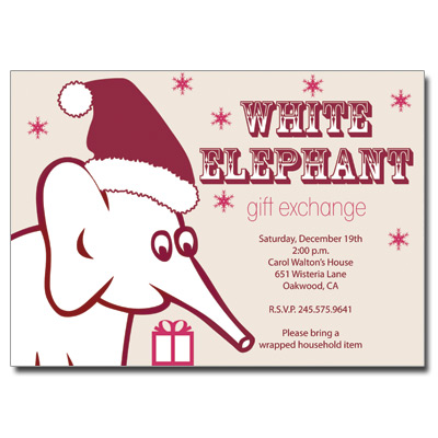 White Elephant Invitation Pricing Options - White elephant christmas party invitations templates