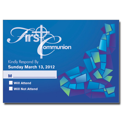 Abstract Glass Blue First Communion Response Card