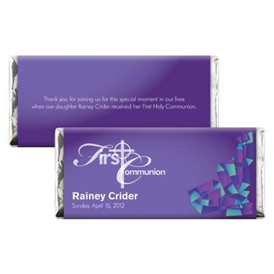 Abstract Glass Purple First Communion Candy Wrapper