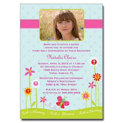 Faith is Blooming First Communion Invitation