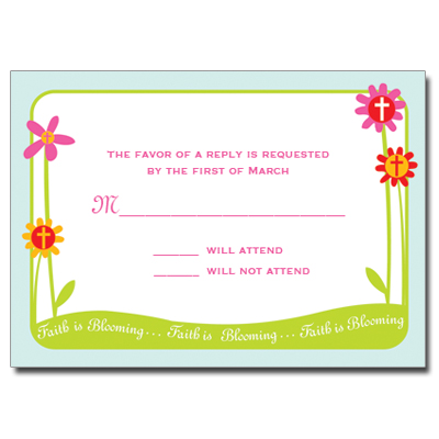 Faith Is Blooming First Communion Response Card