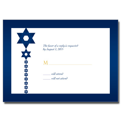 Blue and Gold Bar Mitzvah Response Card