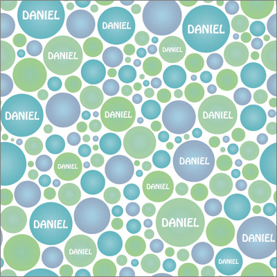 Bubbles Aqua Personalized Wrapping Paper