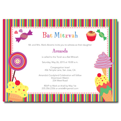 Candyland Bat Mitzvah Invitation
