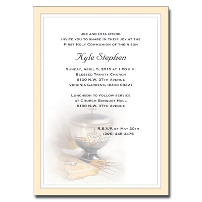 Silver Chalice First Communion Invitation