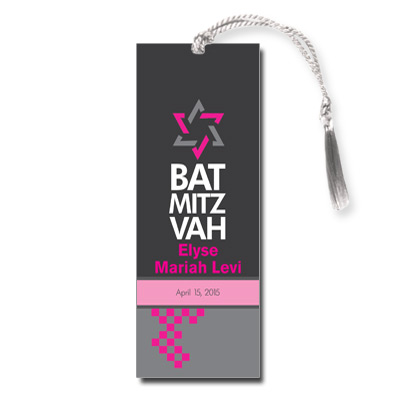 Checkered Pink Bat Mitzvah Bookmark