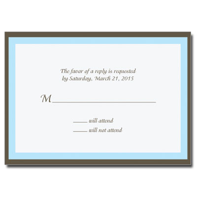 Chocolate & Blue First Communion Response Card