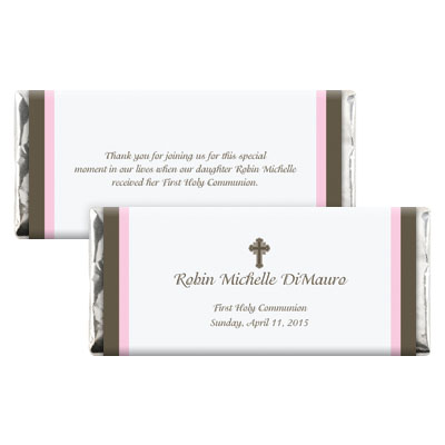 Chocolate & Pink First Communion Candy Wrapper