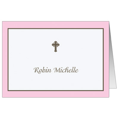 Chocolate & Pink First Communion Thank You Card