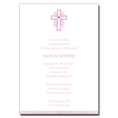 Pink Cross Jewel First Communion Invitation