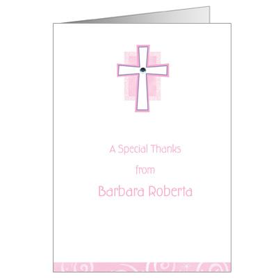 Pink Cross Jewel First Communion Thank You Card