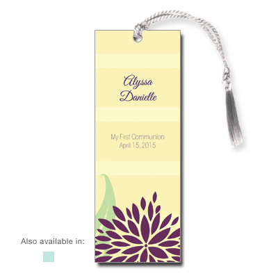 Dahlia Flowers First Communion Bookmark