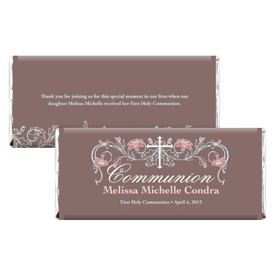 Dusty Rose Jeweled First Communion Candy Wrapper
