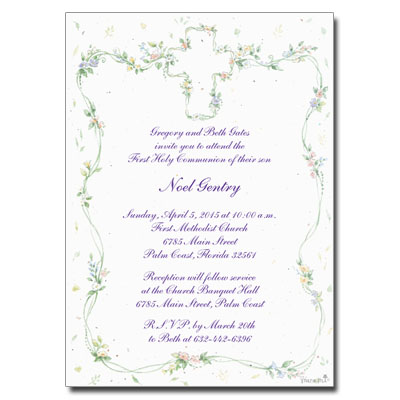 Cross Floral First Communion Invitation