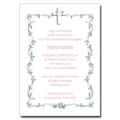 Cross with Flower Border First Communion Invitation