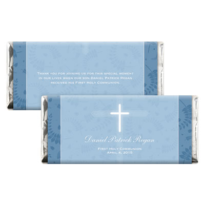 Round Blue Frame First Communion Candy Wrapper