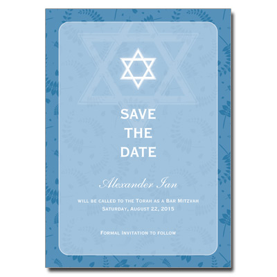 Round Blue Frame Save The Date Bar Mitzvah Card Pricing Options