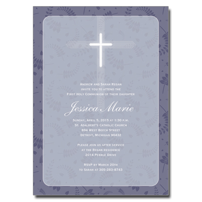 Round Purple Frame First Communion Invitation