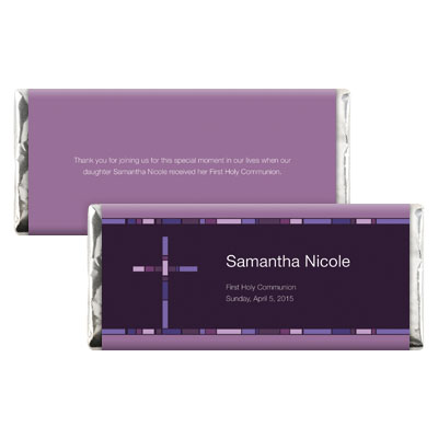Geometric Purple Cross First Communion Candy Wrapper