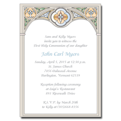 Stained Glass First Communion Invitation - Blue