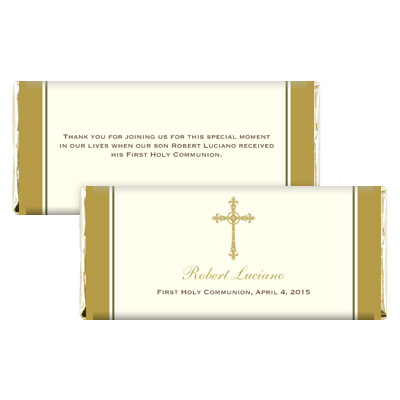 Gold Filigree Cross First Communion Candy Wrapper